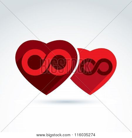 Vector Infinity Icon. Illustration Of An Eternity Symbol Placed On A Red Heart - Love Forever Concep