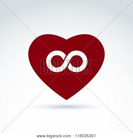 Vector Infinity Icon, Eternal Life Idea.  Illustration Of An Eternity Symbol Placed On A Red Heart -