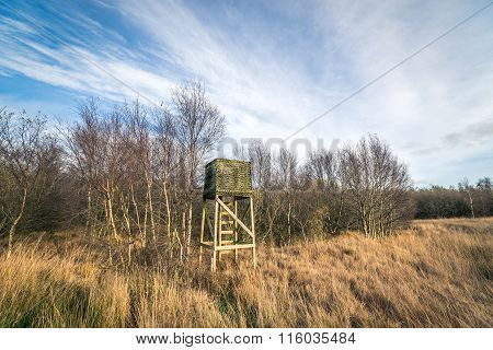 Autumn Nature With A Hunting Tower