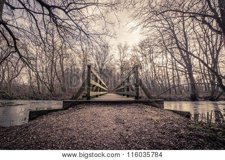 Wooden Bridge Over A Frozen Lake