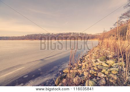 Morning Scenery With A Frozen Lake