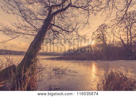 Sunset At A Frozen Lake