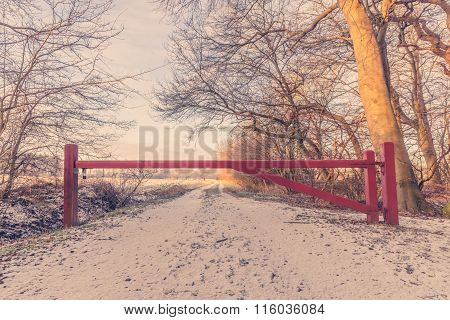 Wooden Barrier On A Nature Path