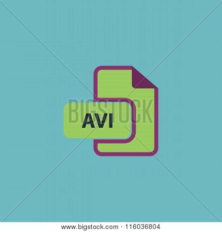 AVI video file extension icon vector.