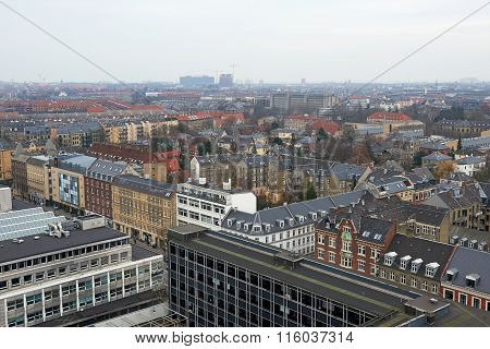 Aerial View Of The Danish City Frederiksberg