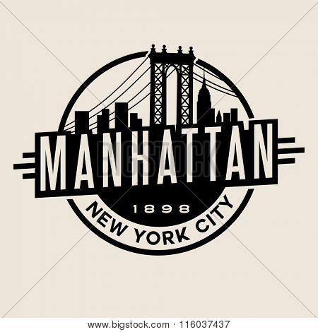 vintage t-shirt sticker emblem design. Manhattan New York City and Manhattan Bridge and  skyline