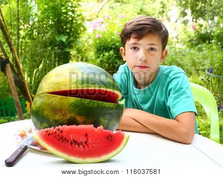 Preteen Handsome Boy With Water Melon