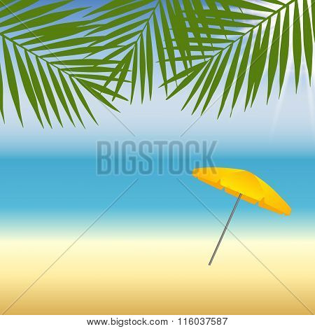 Yellow parasol at the beach under palm trees. Vector illustration