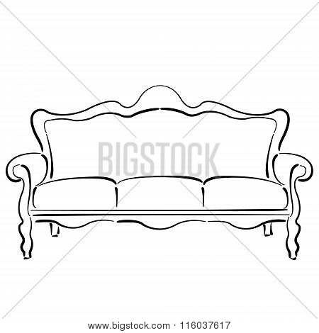 Sketched sofa couch. Couch sketch illustration.