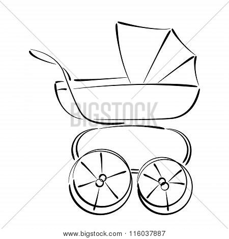 Sketched baby stroller buggy isolated on white