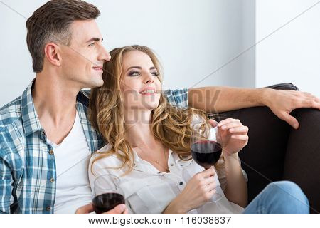 Happy relaxed couple resting and drinking red wine on couch at home