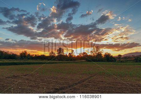 Last Light Of Sunset,cloudscape  On Blue Sky