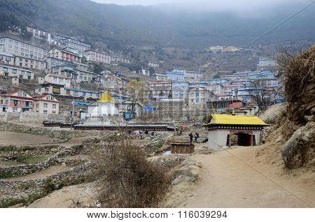Gate To Namche Bazar Village View,sagarmatha National Park, Khumbu Valley,himalaya,nepal
