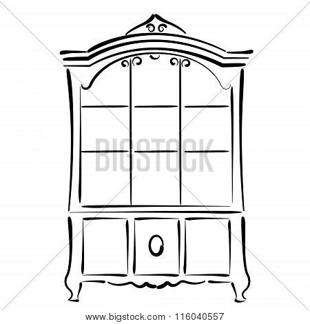 Sketched vintage bookcase isolated on white