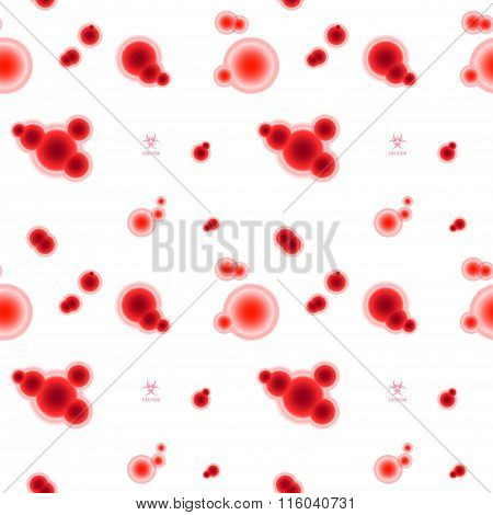 Scientific seamless pattern with red molecules