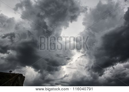 Dramatic Thunder Storm Clouds Background. Nature Landscape