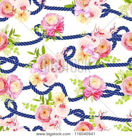 Twisted Blue Marine Rope And Bouquets Of Spring Flowers Seamless Vector Print