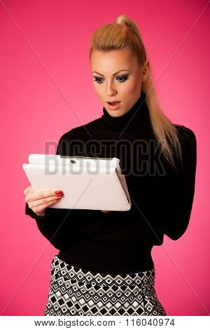 Bussiness Woman Using Tablet Computer, Reading News Shoced, Scared, Frustrated.