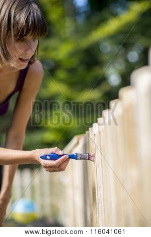 Woman Painting A Garden Fence