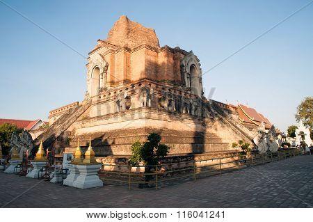 Ancient Pagoda In Wat Chedi Luang,Chiang Mai,Thailand.