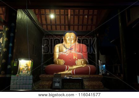 Fat Buddha Of Ancient Pagoda In Wat Chedi Luang,Chiang Mai,Thailand.