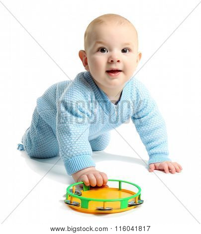 Adorable baby with plastic colourful tambourine isolated on white background