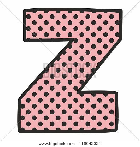 Z alphabet pink vector letter with polka dots isolated on white
