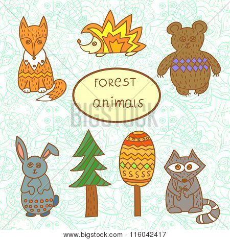 Set of cute forest animals.