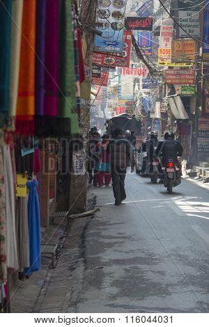 Kathmandu, Nepal - February 10, 2015: The Streets Of Kathmandu, Nepal, Near Dubar Square. Masses Of
