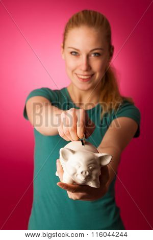 Woman With Piggy Bank In Hands Excited To Safe Save Savings.