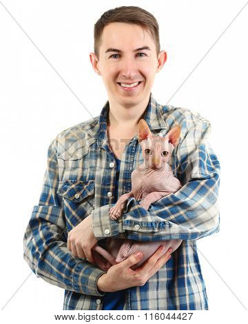 Young handsome man holding a cat, isolated on white