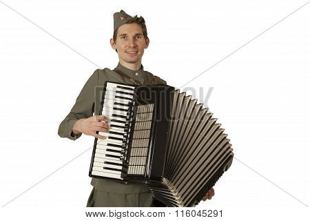 Soviet Soldier Playing The Accordion Over White