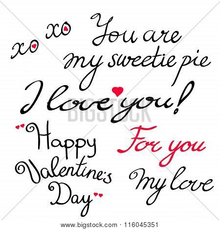 Valentine s Day lettering collection.