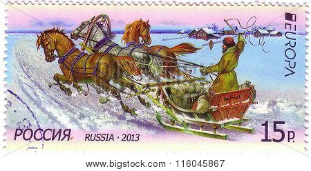 Russia - Circa 2013: A Stamp Printed In Russia Shows Winter Sledgrussia - Circa 2013: A Postal Stamp