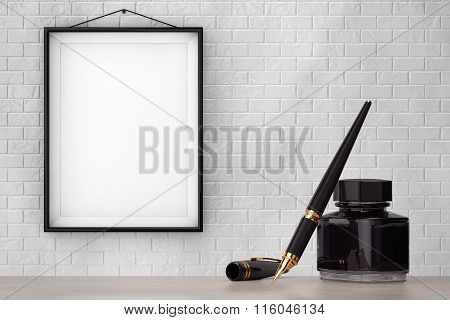 Fountain Pen With Ink Bottle In Front Of Brick Wall With Blank Frame