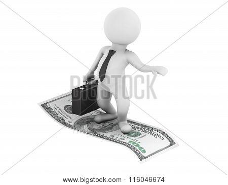 3D Businessman Flying On U.s. Dollars