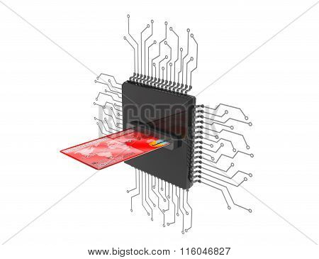 Digital Money Concept. Credit Card Over Microchips With Circuit