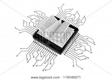 Digital Book Concept. Book Over Microchips With Circuit