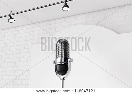 Vintage Microphone Standing On An Empty Stage