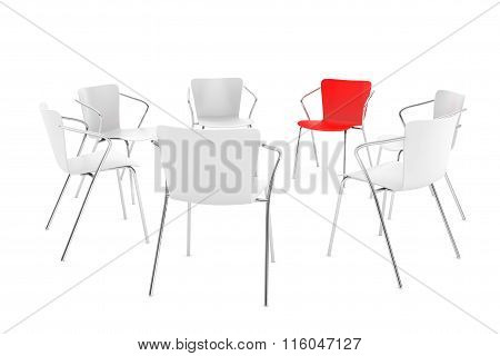 Business Large Meeting. Chairs Arranging Round With Boss Chair
