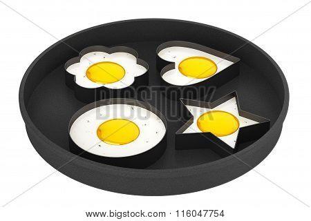 Multiform Fried Eggs In Pan