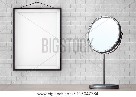 Chrome Makeup Mirror In Front Of Brick Wall With Blank Frame