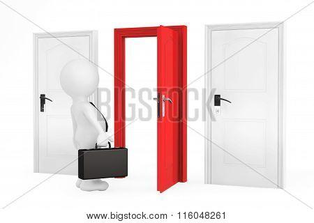 Success Concept. Businessman And Three Doors