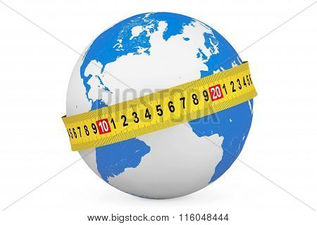 Global Diet Concept. Earth Globe With Measuring Tape