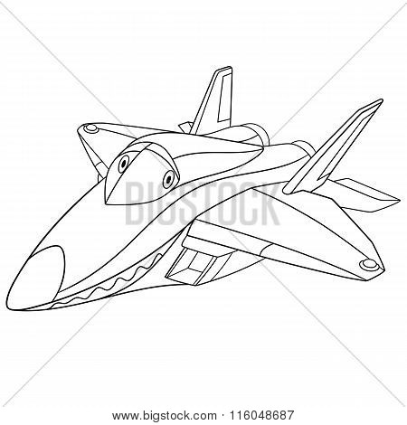 Cute Cartoon Plane F-22 Raptor