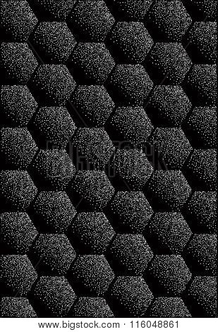Repeating geometric tiles with filled with dots hexagons. Silver glitter texture