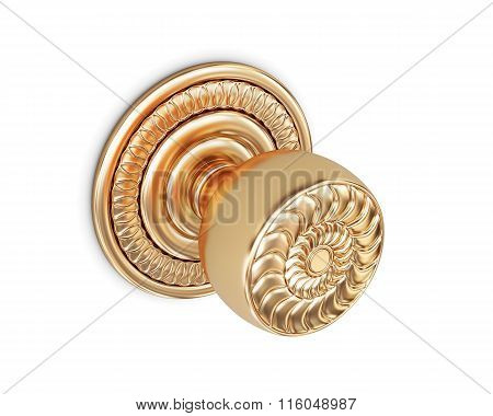 Round door handle isolated on white background. 3d rendering