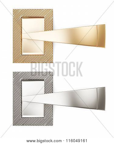 Two handles isolated on white background. 3d rendering