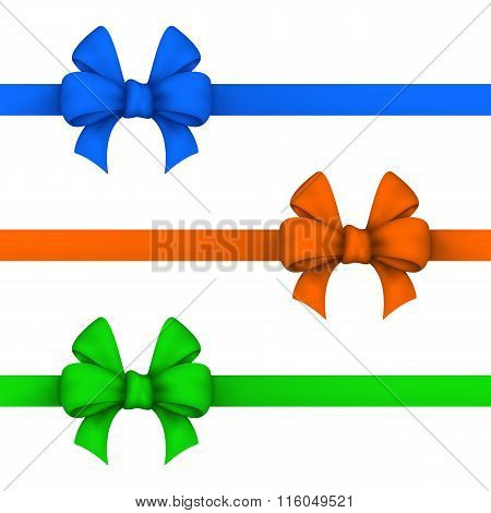 Blue, Orange And Green Gift Bows