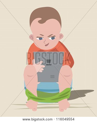 baby boy sitting on chamber pot with tablet